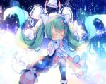 1girl bangs bare_shoulders bell blue_gloves blue_legwear blush boots chibi closed_eyes commentary covered_mouth eyebrows_visible_through_hair fur-trimmed_boots fur-trimmed_gloves fur-trimmed_skirt fur_trim gloves green_hair hands_clasped hands_up hatsune_miku headphones long_hair magical_mirai_(vocaloid) mismatched_gloves own_hands_together pink_gloves shiomizu_(swat) single_thighhigh skirt solo thigh-highs twintails very_long_hair vocaloid white_footwear white_skirt