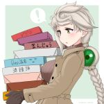 ! 1girl abyssal_ship alternate_costume bangs blush box braid breasts brown_gloves brown_sweater coat cypress enemy_lifebuoy_(kantai_collection) eyebrows_visible_through_hair gloves grey_hair hair_ornament holding holding_box kantai_collection large_breasts long_hair long_sleeves simple_background single_braid solo spoken_exclamation_mark sweater turtleneck turtleneck_sweater twitter_username two-tone_background unryuu_(kantai_collection) yellow_eyes