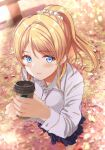 1girl ayase_eli bangs blonde_hair blue_eyes blue_skirt blush breasts coffee_cup collar collared_shirt cup disposable_cup dress_shirt eyebrows_visible_through_hair from_above fushimi_asuha hair_between_eyes highres holding holding_cup leaf long_sleeves looking_at_viewer love_live! love_live!_school_idol_project medium_breasts nail outdoors pleated_skirt ponytail school_uniform scrunchie shirt sidelocks skirt smile solo sunset white_collar white_scrunchie white_shirt