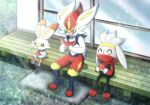 blush cinderace closed_eyes closed_mouth commentary_request eating fang food fruit gen_8_pokemon happy holding looking_down o3o open_mouth pokemon pokemon_(creature) raboot scorbunny sitting smile tem_(mimoteurur013) tongue watermelon watermelon_seeds
