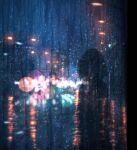 1girl absurdres blurry bokeh city commentary dark depth_of_field film_grain headlight highres lamppost night original outdoors rain road scenery short_hair signature silhouette sky skyrick9413 street water_drop window