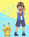 1boy ao_anpk ash_ketchum bangs baseball_cap black_hair brown_eyes commentary_request gen_1_pokemon hands_together hands_up hat open_mouth pikachu pokemon pokemon_(anime) pokemon_(creature) pokemon_swsh_(anime) shirt shoes shorts sleeveless sleeveless_jacket standing star_(symbol) teeth tongue two-tone_background white_shirt