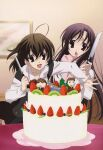 2girls absurdres ahoge bird black_eyes black_hair black_legwear brown_hair cake chibi food fruit gotou_junji highres itou_makoto katsura_kotonoha kiwi kiwifruit knife long_hair meme multiple_girls nice_boat non-web_source official_art pastry saionji_sekai sawanaga_taisuke scan school_days school_uniform short_hair skirt strawberry thigh-highs thighs very_long_hair zettai_ryouiki