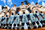 6+boys backwards_hat bara belt black_hair bulge chest chijimetaro clouds cloudy_sky crowd from_below full_body giant giant_male hand_on_hip hat highres looking_up male_focus multiple_boys muscle original pants shoes short_hair size_difference sky soccer_uniform sportswear standing thick_thighs thighs tight tight_pants white_pants