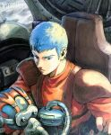1boy blue_eyes blue_hair chirico_cuvie cockpit helmet holding holding_helmet looking_down mecha military pilot_suit science_fiction scopedog solo soukou_kihei_votoms toko_(tokkotoritori)