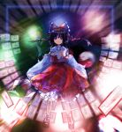 1girl ascot bangs black_footwear black_hair blurry bobby_socks bow brown_eyes brown_hair detached_sleeves expressionless frilled_bow frilled_ribbon frilled_shirt_collar frilled_skirt frills full_body gohei hair_bow hair_ribbon hair_tubes hakurei_reimu hexagram highres holding imperishable_night kaigen_1025 long_sleeves magic_circle ofuda orb petticoat red_ribbon red_skirt red_vest ribbon ribbon-trimmed_sleeves ribbon_trim shide short_hair sidelocks skirt skirt_set socks solo spell_card touhou transparent vest white_legwear wide_sleeves yellow_neckwear yin_yang_orb