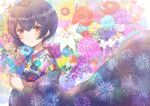 1girl absurdres blush bob_cut fireworks flower highres idolmaster idolmaster_shiny_colors japanese_clothes kimono lily_(flower) looking_at_viewer morino_rinze namamake purple_hair red_eyes short_hair sidelocks solo standing