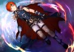 1boy bangs black_gloves blood blood_on_face blue_eyes cape fire_emblem fire_emblem:_the_binding_blade from_above gloves hair_between_eyes looking_at_viewer looking_up male_focus open_mouth orange_hair pants red_cape roy_(fire_emblem) shoochiku_bai short_hair solo torn_clothes torn_gloves white_pants