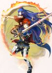 1boy 1girl armor bangs blue_eyes blue_gloves blue_hair fingerless_gloves fire_emblem fire_emblem:_the_binding_blade floating_hair gloves hair_between_eyes headband holding holding_sword holding_weapon lilina_(fire_emblem) long_hair looking_at_viewer magic open_mouth pants redhead roy_(fire_emblem) shiny shiny_hair shoochiku_bai short_hair shoulder_armor spaulders sword very_long_hair weapon white_background