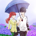 1boy 1girl amamiya_ren atlus black_eyes black_hair black_pants black_skirt collared_shirt dress_shirt erimiyaman floating_hair flower glasses grin holding holding_umbrella long_hair megami_tensei miniskirt pants persona persona_5 persona_5_the_royal plaid plaid_pants plaid_skirt pleated_skirt purple_flower rain red_eyes redhead sega shared_umbrella shin_megami_tensei shiny shiny_hair shirt short_sleeves skirt smile umbrella white_shirt wing_collar yellow_shirt yoshizawa_kasumi