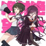 2girls ahoge background_text bangs black_legwear breasts brown_hair clenched_teeth copyright_name danganronpa eyebrows_visible_through_hair fukawa_touko hair_between_eyes hair_ornament hairclip highres holding kneehighs long_hair long_sleeves megaphone multiple_girls naegi_komaru neckerchief omochi_ksw open_mouth pleated_skirt purple_hair red_neckwear sailor_collar school_uniform scissors serafuku short_hair short_sleeves simple_background skirt stun_gun sweat teeth thigh-highs torn_clothes torn_skirt white_background zettai_zetsubou_shoujo