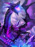 black_sclera claws clouds cloudy_sky crack crystal dragon energy energy_ball glowing highres moutama no_humans outdoors pillar pixiv_fantasia pixiv_fantasia_last_saga sharp_teeth sky teeth violet_eyes