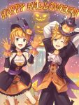 1boy 1girl blonde_hair breasts dress gloves gogo_(detteiu_de) green_eyes halloween halloween_costume hat kingdom_hearts kingdom_hearts_birth_by_sleep kingdom_hearts_x looking_at_viewer open_mouth pumpkin short_hair smile spiky_hair ventus