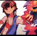1boy artist_name ash_ketchum bangs baseball_cap black_hair brown_eyes commentary_request fingernails hair_between_eyes hat highres holding holding_poke_ball leaves_in_wind looking_to_the_side male_focus meddo parted_lips poke_ball poke_ball_(basic) pokemon pokemon_(anime) pokemon_swsh_(anime) shirt short_sleeves sleeveless sleeveless_jacket solo upper_body watermark white_shirt