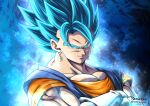 1boy 2094banana blue_background blue_eyes closed_mouth collarbone crossed_arms dragon_ball dragon_ball_super earrings highres jewelry looking_at_viewer male_focus muscle smug solo super_saiyan super_saiyan_blue twitter_username upper_body vegetto