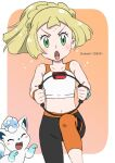 1girl alolan_form alolan_vulpix artist_name bangs blonde_hair blush collarbone commentary_request eyelashes gen_7_pokemon green_eyes holding leg_up leggings lillie_(pokemon) navel open_mouth pokemon pokemon_(anime) pokemon_sm_(anime) ring-con ring_fit_adventure shinohara_takashi sweat tongue v-shaped_eyebrows watermark