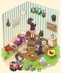 ahoge alarm_clock baseball_cap bede_(pokemon) black_hair black_headwear black_jacket black_pants blonde_hair boots brown_eyes brown_footwear brown_hair bug bulletin_board butterfly cardigan character_request clock coat commentary_request couch crossed_legs crossover curly_hair doubutsu_no_mori drawer dress flower gen_8_pokemon gender_request gloria_(pokemon) grass green_headwear green_legwear grey_cardigan hair_ribbon hand_on_own_knee handheld_game_console hands_up hat holding holding_handheld_game_console hop_(pokemon) insect jacket long_sleeves lying mailbox_(incoming_mail) marnie_(pokemon) morpeko morpeko_(full) nintendo_switch on_back open_mouth pants pink_dress pokemon pokemon_(creature) pokemon_(game) pokemon_swsh purple_coat purple_hair red_ribbon ribbon sasairebun shirt shoes short_hair short_sleeves sitting socks spoken_object squatting standing tam_o'_shanter thought_bubble tongue wall_clock watering_can window wreath