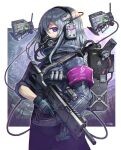 1girl armband backpack bag bangs blue_gloves border cowboy_shot gas_mask gia gloves grey_hair gun headset highres holding holding_gun holding_weapon looking_at_viewer mask medium_hair mouth_mask multicolored multicolored_eyes original outside_border profile robot solo trigger_discipline violet_eyes weapon white_border