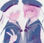 2girls bangs blue_dress blue_eyes blue_headwear blue_sailor_collar blush brown_hair closed_mouth clothes_writing dress grey_background hat kantai_collection kumofuki multiple_girls open_mouth sailor_collar sailor_dress sailor_hat short_hair simple_background upper_body v violet_eyes white_hair z1_leberecht_maass_(kantai_collection) z3_max_schultz_(kantai_collection)