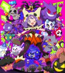 1girl acerola_(pokemon) aegislash artist_name banette bangs bead_bracelet beads blush bracelet brown_legwear chandelure commentary_request cosplay dreepy drifloon duskull eyelashes froslass galarian_corsola galarian_form gen_1_pokemon gen_3_pokemon gen_4_pokemon gen_5_pokemon gen_6_pokemon gen_7_pokemon gen_8_pokemon gengar giratina giratina_(origin) gloves gourgeist haunter honedge hood hood_up jewelry legendary_pokemon legs_apart litwick looking_at_viewer mimikyu mimikyu_(cosplay) mismagius nashirasauce one_eye_closed open_mouth outstretched_arms pantyhose pokemon pokemon_(creature) pokemon_(game) pokemon_masters_ex pumpkaboo purple_hair sableye shiny shoes single_glove spiritomb tongue watermark