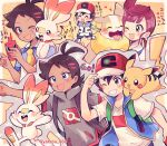 1girl 2boys ;d ? antenna_hair artist_name ash_ketchum bangs baseball_cap black_hair blue_eyes brown_eyes brown_hair chloe_(pokemon) commentary_request eyebrows_visible_through_hair eyelashes gen_1_pokemon gen_4_pokemon gen_8_pokemon goh_(pokemon) hat heart highres holding holding_poke_ball multiple_boys one_eye_closed open_mouth pikachu poke_ball pokemon pokemon_(anime) pokemon_(creature) pokemon_swsh_(anime) rotom rotom_phone scorbunny shirt shoes short_sleeves shorts sleeveless sleeveless_jacket smile teeth tongue translation_request v-shaped_eyebrows watermark white_shirt yamper yataba yellow_neckwear