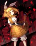 1girl bangs blonde_hair bloomers cityscape closed_mouth double_bun dress hair_ribbon haniwa_(statue) highres holding joutouguu_mayumi kyouda_suzuka looking_at_viewer looking_back petals puffy_short_sleeves puffy_sleeves ribbon short_hair short_sleeves touhou underwear vambraces white_ribbon yellow_dress yellow_eyes