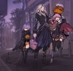 1girl 2boys astolfo_(fate) bag black_cat blonde_hair braid candy cat cloak fate/apocrypha fate_(series) food grey_hair grocery_bag halloween highres jack_the_ripper_(fate/apocrypha) long_hair melon22 multiple_boys pink_hair pumpkin scar scar_across_eye shopping_bag thigh-highs vlad_iii_(fate/apocrypha) yarn yarn_ball