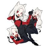 3girls :d animal_ears bangs black_footwear black_gloves black_pants black_vest blush cerberus_(helltaker) commentary ddari demon_tail dog_ears fang gloves helltaker long_hair looking_at_viewer low-tied_long_hair multiple_girls open_mouth pants parted_bangs red_eyes shoes simple_background smile symbol_commentary tail triplets vest white_background white_hair
