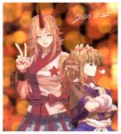 2girls arm_warmers bangs blonde_hair blue_skirt blurry blurry_background blush bow braid breasts brown_shirt closed_eyes closed_mouth commentary_request crossed_arms cuffs facing_away facing_viewer fang fingernails french_braid half_updo hand_on_another's_head hands_up head_grab height_difference horns hoshiguma_yuugi layered_clothing lights long_hair medium_breasts mizuhashi_parsee multiple_girls pointy_ears ponytail profile red_bow red_horns red_nails red_sash sash scarf shackles sharp_fingernails shirt short_hair short_ponytail short_sleeves sidelocks single_horn skirt smile star_(symbol) star_print sunyup touhou tsundere upper_body v-shaped_eyebrows very_long_fingernails white_sash white_scarf