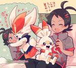 1boy antenna_hair artist_name bangs black_hair blush cinderace closed_eyes commentary_request eyelashes gen_8_pokemon goh_(pokemon) hand_up heart on_lap open_mouth pokemon pokemon_(anime) pokemon_(creature) pokemon_on_lap pokemon_swsh_(anime) scorbunny short_sleeves sitting smile star_(symbol) thought_bubble tongue watermark yataba