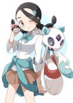 1girl absurdres black_hair blush brown_eyes brown_skirt buchi_(y0u0ri_) candice_(pokemon) closed_mouth clothes_around_waist collared_shirt commentary_request eyelashes froslass gen_4_pokemon hair_tie highres holding holding_hands holding_poke_ball long_hair looking_at_viewer one_eye_closed pleated_skirt poke_ball poke_ball_(basic) pokemon pokemon_(creature) pokemon_(game) pokemon_dppt shirt skirt sleeves_rolled_up smile sweater sweater_around_waist tied_hair twintails white_shirt