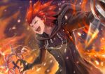1boy axel_(kingdom_hearts) black_coat_(kingdom_hearts) facial_mark fire gloves gogo_(detteiu_de) green_eyes hood kingdom_hearts kingdom_hearts_ii organization_xiii redhead solo spiky_hair weapon