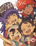 >_< 4boys arm_up ash_ketchum bangs baseball_cap black_hair blush clenched_hands commentary_request earrings eyebrows_visible_through_hair fang goh_(pokemon) green_eyes hands_up happy hat highres jewelry leon_(pokemon) long_hair male_focus multiple_boys open_mouth orange_headwear pokemon pokemon_(anime) pokemon_swsh_(anime) purple_hair raihan_(pokemon) rechain shirt sleeveless sleeveless_jacket smile teeth tongue white_shirt