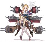 2girls azur_lane black_hairband blonde_hair blue_capelet blue_dress blue_eyes bow brown_legwear cannon capelet carrying crown dress flying_sweatdrops full_body hair_over_shoulder hairband hat hood_(azur_lane) knees_together_feet_apart long_hair looking_at_another looking_away mini_crown multiple_girls open_mouth piggyback queen_elizabeth_(azur_lane) serious short_dress smile steam striped striped_hairband thigh-highs tilted_headwear white_bow white_headwear white_legwear zettai_ryouiki zukanosuke