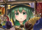 1girl :o bangs black_headwear blurry_foreground brooch building_block charm_(object) collar commentary_request display_case eyebrows_visible_through_hair frilled_shirt_collar frills frog_hair_ornament gourd green_collar green_eyes green_hair hair_ornament hat hat_ribbon highres jewelry komeiji_koishi light_blush looking_at_viewer luke_(kyeftss) miracle_mallet oriental_umbrella partial_commentary pyonta ribbon shirt short_hair solo spinning_top third_eye touhou toy twig umbrella upper_body yellow_shirt