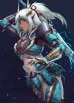 1girl absurdres armor blue_eyes breastplate clothing_cutout faulds gauntlets highres holding holding_sword holding_weapon kankitsurui_(house_of_citrus) long_hair monster_hunter_(series) monster_hunter_rise navel pauldrons ponytail shoulder_armor solo stomach_cutout sword weapon white_hair zinogre_(armor)