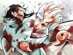 black_hair blood blood_on_face bloody_clothes dynamic_pose facial_hair fate/grand_order fate_(series) fighting_stance foreshortening goatee hair_slicked_back haori highres hinoya holding holding_sword holding_weapon injury japanese_clothes katana kimono long_hair serizawa_kamo_(fate) sideburns simple_background sword weapon white_kimono wide_sleeves