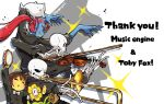 1girl 1other 3boys annoying_dog arm_up bandaged_leg bandages bright_pupils closed_eyes diffraction_spikes dog english_text fish_girl flowey_(undertale) frisk_(undertale) grin highres instrument long_hair multiple_boys music one_eye_closed papyrus_(undertale) piano playing_instrument ponytail redhead sandpaper sans simple_background skeleton smile tambourine trombone undertale undyne violin white_background white_pupils yellow_skin yugaiga