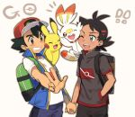 !! 2boys ash_ketchum backpack bag bangs baseball_cap black_hair blue_eyes blush brown_backpack brown_eyes commentary_request daitenshimyonko gen_1_pokemon gen_8_pokemon goh_(pokemon) green_backpack hand_in_pocket hat holding_hands multiple_boys on_shoulder one_eye_closed open_mouth pikachu pokemon pokemon_(anime) pokemon_(creature) pokemon_on_shoulder pokemon_swsh_(anime) scorbunny shirt short_sleeves sleeveless sleeveless_jacket smile teeth tongue w white_shirt