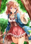 1girl :d atelier_(series) atelier_sophie bangs blue_coat blush breasts brown_hair coat commentary_request cosplay day eyebrows_visible_through_hair forest frilled_coat frilled_skirt frills gochuumon_wa_usagi_desu_ka? hair_between_eyes hair_ornament hairclip hand_up head_scarf highres holding hoto_cocoa long_hair long_sleeves looking_at_viewer medium_breasts nature open_clothes open_coat open_mouth outdoors pointing red_skirt shirt skirt smile solo sophie_neuenmuller sophie_neuenmuller_(cosplay) violet_eyes white_shirt wide_sleeves zenon_(for_achieve)