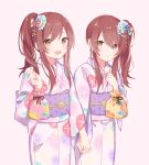 2girls blush brown_eyes flower hair_flower hair_ornament highres holding_hands idolmaster idolmaster_shiny_colors japanese_clothes kimono knokzm long_hair looking_at_viewer multiple_girls oosaki_amana oosaki_tenka open_mouth redhead side_ponytail sidelocks simple_background standing white_background