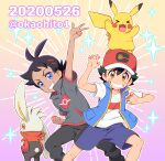 2boys arm_up artist_name ash_ketchum bangs baseball_cap blue_eyes brown_eyes clenched_teeth commentary_request gen_1_pokemon gen_8_pokemon goh_(pokemon) hair_between_eyes hair_ornament hat knees looking_at_viewer multiple_boys okaohito1 on_head pikachu pokemon pokemon_(anime) pokemon_(creature) pokemon_on_head pokemon_swsh_(anime) raboot shirt short_sleeves shorts sleeveless sleeveless_jacket smile sparkle teeth w watermark white_shirt