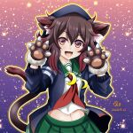 1girl :d animal_ears artist_name blush brown_eyes brown_hair cat_ears cat_paws cat_tail crescent crescent_moon_pin dated eyebrows_visible_through_hair fangs green_skirt hair_between_eyes highres kantai_collection long_sleeves mutsuki_(kantai_collection) neckerchief open_mouth paws pleated_skirt red_neckwear remodel_(kantai_collection) school_uniform serafuku short_hair signature skin_fangs skirt smile solo tail tk8d32