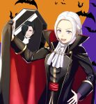 1boy 1girl animal bat black_hair blood blush cape closed_eyes coffin cute edelgard_von_hresvelg fangs fire_emblem fire_emblem:_fuukasetsugetsu fire_emblem:_three_houses fire_emblem_16 fire_emblem_heroes gloves gzo1206 hair_ribbon halloween halloween_costume hubert_von_vestra human intelligent_systems long_hair moon night night_sky nintendo open_mouth ribbon short_hair sky sukkirito_(rangusan) thinking vampire_costume violet_eyes white_hair