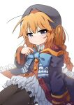 1girl artist_name blue_neckwear blurry blurry_background bow bowtie braid brown_legwear closed_mouth coat depth_of_field grey_eyes grey_headwear hat highres legs_together long_sleeves looking_at_viewer mountain_han one_side_up orange_hair pantyhose princess_connect! princess_connect!_re:dive purple_coat simple_background single_braid sitting solo white_background wide_sleeves yuni_(princess_connect!)