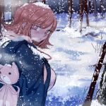 1girl absurdres animal_backpack blush breasts bright_pupils closed_mouth commentary danganronpa danganronpa_1 forest from_side highres jacket jacket_on_shoulders large_breasts looking_at_viewer looking_to_the_side nanami_chiaki nature orange_hair ringed_eyes rye_(hyn_uka) short_hair snow snow_on_head solo tree upper_body white_pupils