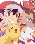 2boys ash_ketchum bangs baseball_cap blue_eyes brown_hair commentary_request gen_1_pokemon gen_4_pokemon gen_8_pokemon goh_(pokemon) hair_between_eyes hair_ornament hand_up hat holding matsuno_opa multiple_boys one_eye_closed open_mouth pikachu pokemon pokemon_(anime) pokemon_(creature) pokemon_swsh_(anime) rotom rotom_phone scorbunny smile teeth tongue v