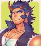 1boy bara bare_shoulders chest collared_jacket dark_blue_hair facial_hair fang highres horns jewelry looking_at_viewer male_focus muscle necklace red_eyes short_hair sideburns solo stubble takemaru_(tokyo_houkago_summoners) thick_eyebrows tokyo_houkago_summoners torn_clothes touou upper_body