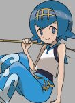 1girl bare_arms blue_eyes blue_hair blue_pants closed_mouth commentary_request fishing_rod grey_background hairband hand_up highres holding holding_fishing_rod lana_(pokemon) looking_at_viewer no_sclera one-piece_swimsuit pants pokemon pokemon_(game) pokemon_sm sawa_(soranosawa) shirt short_hair sleeveless smile solo swimsuit swimsuit_under_clothes