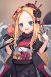 1girl abigail_williams_(fate/grand_order) bangs black_bow blonde_hair blue_eyes blush bow breasts cosplay fate/grand_order fate_(series) forehead giant_brush hair_bow hair_ornament hairpin highres japanese_clothes katsushika_hokusai_(fate/grand_order) katsushika_hokusai_(fate/grand_order)_(cosplay) kimono long_hair long_sleeves looking_at_viewer miya_(miyaruta) multiple_bows open_mouth orange_bow paintbrush parted_bangs purple_kimono red_kimono sash sidelocks small_breasts smile stuffed_animal stuffed_toy teddy_bear wide_sleeves